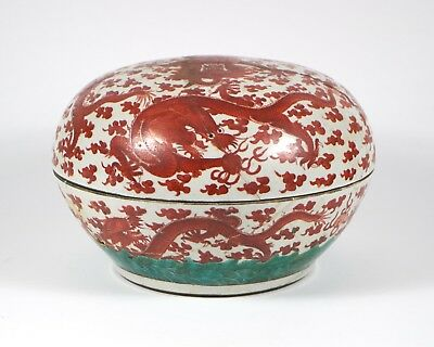 Large antique 19thc. Chinese iron-red dragon porcelain circular box & cover