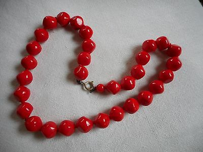 Vintage deep red and very Christmasy art glass beads  Necklace 18""