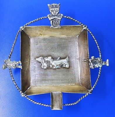 Ornate 925 Sterling Silver Columbia Antique Ashtray Cigar Cigarette 60.9g ML2671