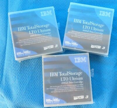 Lot 3 x IBM  LTO  Ultrium 3 Data Cartridge 400GB / 800GB   PN 24R1922