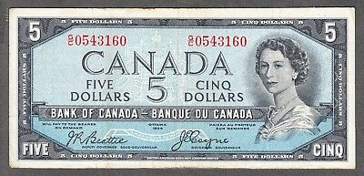 1954 Bank of Canada $5 Devil Face Note - VF - Beattie Coyne - G/C 0543160