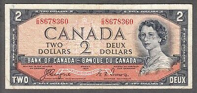 1954 Bank of Canada $2 Devil Face Note - Fine - Coyne Towers - C/B 8678360