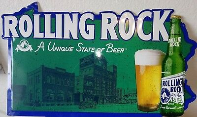 Rolling Rock Beer tin sign Bar sign A Unique State of Beer