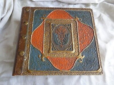 Vintage Arts & Crafts Mission Wood Gesso Book Motif Leather Binding Letter Box