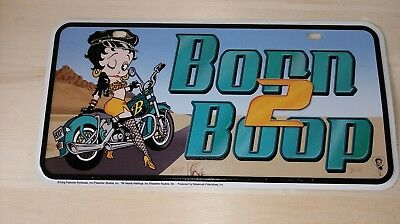 "Betty Boop 12""X6"" metal license plate collectable Born to Boop Motorcycle"