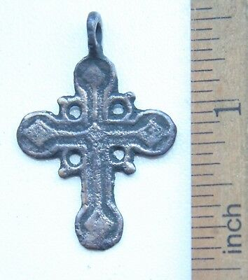 Ancient Old Bronze Golgotha Ornament Cross (JAN35)