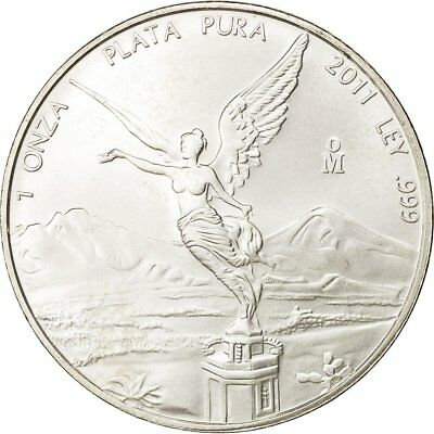 [#430044] Mexico, Onza, Troy Ounce of Silver, 2011, Mexico City, MS(65-70)