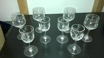 Collection of 8 Small Old (Antique?) Glasses. Two designs. Etched / Engraved?
