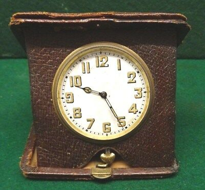 Goliath Folding Travelling Clock In Leather Case - Working.