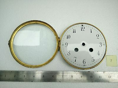 Antique Vintage Enamel Clock Dial Face, Brass Glass Bezel 4 3/4""
