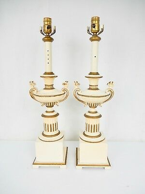 Pair Vintage Painted Heavy Cast Spelter Urn Lamps on Wood Bases.
