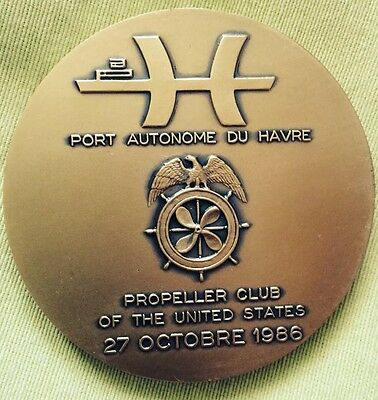 MEDAL BRONZE U S A FRENCH HAVRE STATUE LIBERTE 1986 Anniversaire Propeller