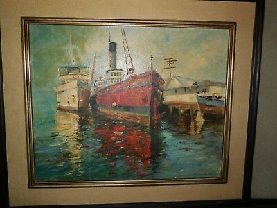 """Vintage Signed Thelma Butler """"ships At Harbor"""" Oil On Canvas / 1972 / 23X27"""