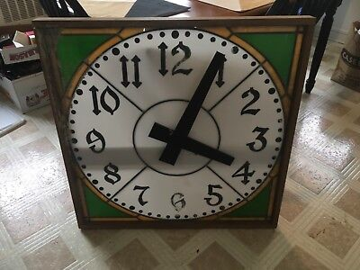 "Vintage Rear Find Stained Glas S Clock 33""X33"" One Of A Kind"