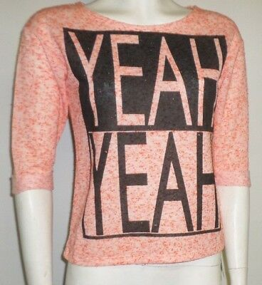 New Girls Top Size 31-32 Orange Fine Knit Sweater Yeah Yeah Logo By Dunnes