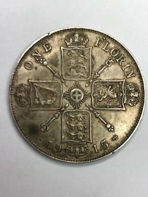 1915 One Florin Silver Coin. 92.5% Silver. 11.3g Total Weight. Ungraded.