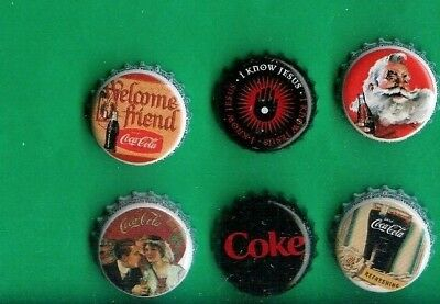6 Coke Bottle Caps Of Ecuador + Belgium Coca Cola,includes Black Coke