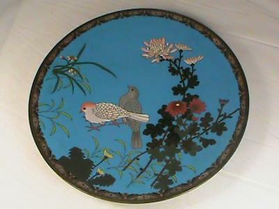 "Antique Japanese Meiji Cloisonne Charger Plate w Birds and Flowers Big 12"" L@@K!"