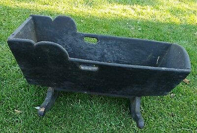 Antique Cradle Baby Primitive Decor Early American Wood Full Sized Black Rustic