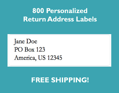 """800 Printed Personalized Return Address Labels 1/2"""" x 1 3/4"""" Inch"""