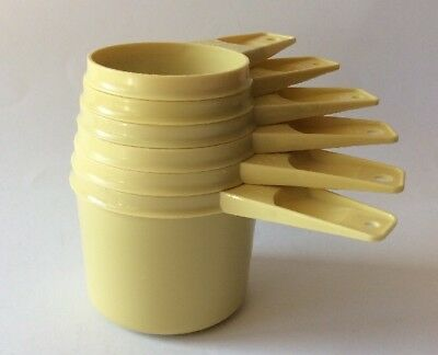 Vintage Tupperware Measuring Cups Complete Set Of 6  Mustard Yellow