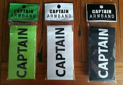 Black  White  Lime  Soccer Football Captain Armband ONE SIZE FITS MOST 300mmx50