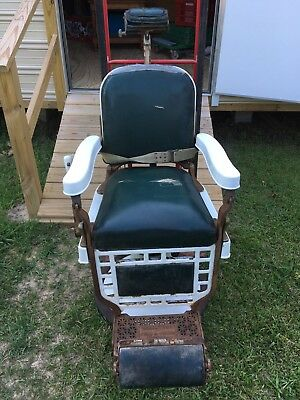Theo A. Kochs Antique Barber Chair, Made in Chicago Authentic, Original