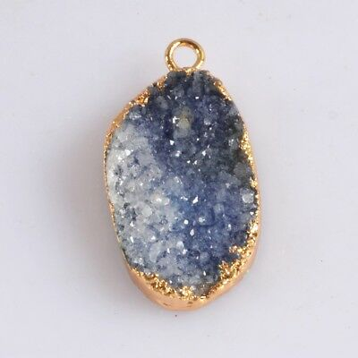 Blue Agate Druzy Geode Charm One Bail Gold Plated T059193