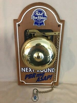 Vintage Pabst Blue Ribbon Beer Sign Real Old Loud Boxing Bell - Man Cave - Look