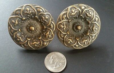 "2 ANTIQUE SOLID BRASS SCREW ON LARGE ROUND KNOBS FLORAL DESIGN 2"" dia #Z27"
