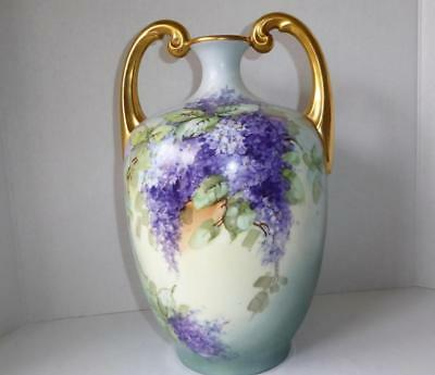 Large Antique Jean Pouyat J.p. Limoges Hand Painted Lilacs Porcelain Muscle Vase