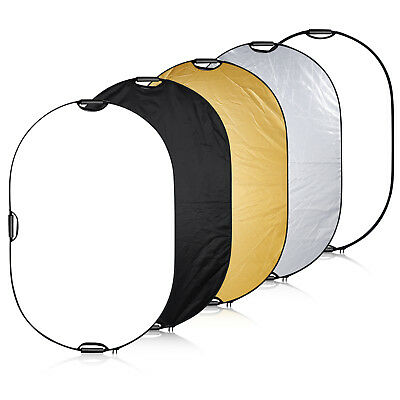 """Neewer Portable 5-in-1 60""""x80"""" Multi-Disc Oval Light Reflector with 3 Handle"""