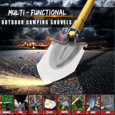 AU Folding Shovel Survival Tools Garden Camping Hiking Spade +2 Rod&Hammer&Pouch