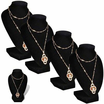 4PCS Flannel Jewelry Holder Elegant Necklace Bust Display Show Rack Stand Black