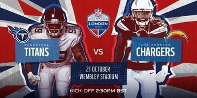 2 Tickets Tennessee Titans-Los Angeles Chargers  NFL London 2018 Wembley