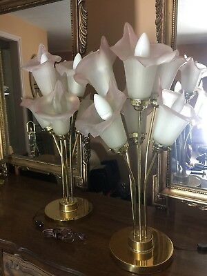 Pair of Vintage Calla Lily Mid Century Large Table Lamps with Variable Lighting.