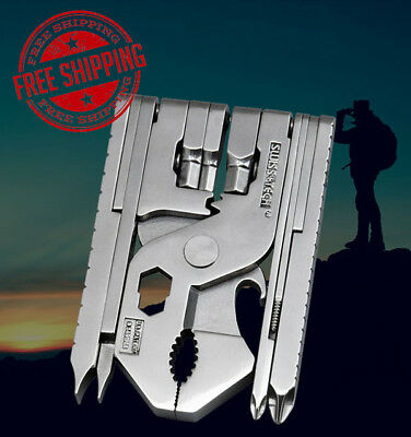 New 22 In 1 Multifunction Portable Collapsible Pliers Tool Silver Travel Outdoor