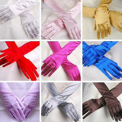 Wedding Prom Women Opera Satin Stretch Long Gloves Evening Party Gloves One Pair