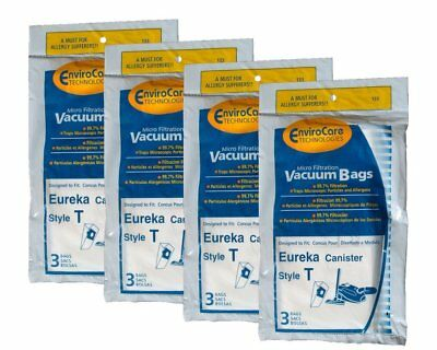 12 Eureka 61555B, 61555,133 Style T, Microlined Canister Vacuum Paper Bags
