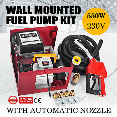 230V  Transfer Fuel Pump Kit With Automatic Nozzle Hose Adaptors Diesel Mounted