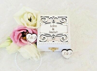 Personalised Wooden Double Wedding Ring Bearer Box / Ring Pillow