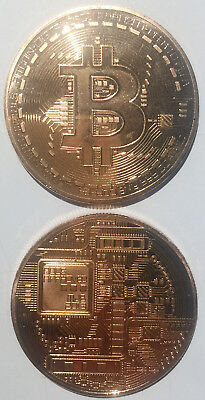 RED Bitcoin Commemorative Round Collectors TOKEN MEDAL Bit Coin UNC