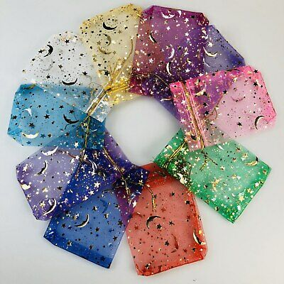 25/50/100 Moon Star Organza Gift Bags Wedding Jewelry Drawstring Party Pouches
