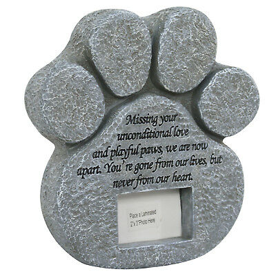 Paw Print Pet Cat Dog Picture Grave Memorial Stone Marker Plaque Headstone