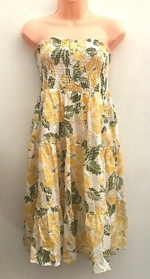 Ladies Ex High Street Yellow, Green & White Summer Dress Size 8 10 16