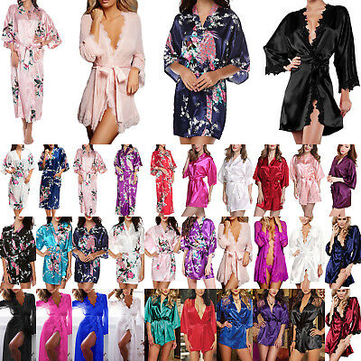 Women Satin Robe Kimono Night Dressing Gown Wedding Party Bridesmaid Sleepwear