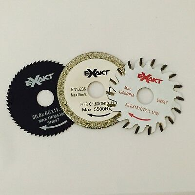Exakt EC Saw Blade Triple Pack 18TCT, G50, 60HSS Woods, Laminates & Tiles