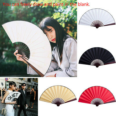 Chinese Style Dance Wedding Party Lace Silk Folding Hand Flower Blank Cloth Fan