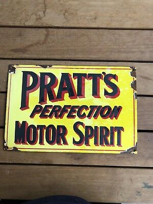 Vintage Pratts Perfection Motor Oil Porcelain Sign