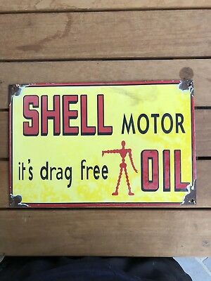 Vintage Shell Motor Oil Drag Free Porcelain Sign